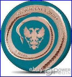 FAFNIR GEMINUS Dragon Space Blue Rose Gold 1 Oz Silver Coin 5 Mark Germania 2020
