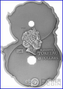 FIGURE EIGHT DRAGON AND PHOENIX 3 Oz Silver Coin 15$ Tokelau 2021