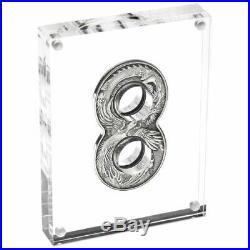 FIGURE EIGHT DRAGON & PHOENIX 2020 2 oz Pure Silver Antiqued Coin AUSTRALIA