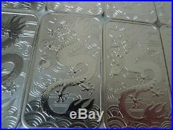 FIVE 2018 Dragon silver bullion bars 10x 1oz. 999 silver official Perth Mint
