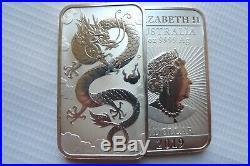 FIVE (5) of Dragon 1oz silver bullion coin bars pure 9999 silver x 5 2019's