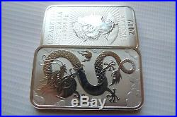 FIVE limited mintage Dragon 1 ounce silver bullion coin bars solid 9999 silver