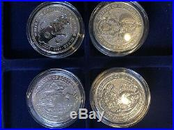 FULL SET Queen's Beasts Silver 2 oz coins Griffin Lion Bull Dragon 9 coins 18oz