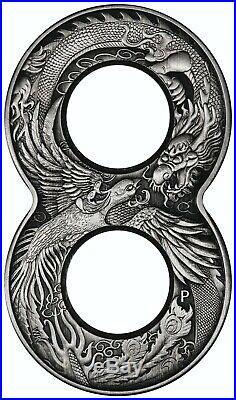 Figure Eight Dragon and Phoenix 2oz Antiqued Silver Coin Australia 2020
