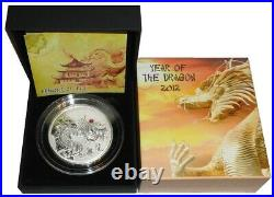Fiji 20 Dollars 2 Oz Silver Coin Red Fire Dragon 2012 Proof only 888 Pieces RAR
