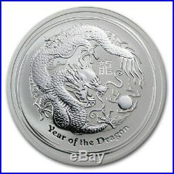 Four (4) 2 oz 2012 Perth Lunar Dragons Eight (8) Ounces Total BU Lunar Series II