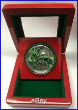 GREEN DRAGON 2019 2 oz Pure Silver Antique Finish Coin UHR Color Polish PALAU