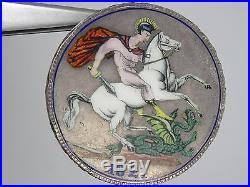 George IIII 1821 Silver Enamel George & Dragon Crown Coin Pin Brooch Pendant