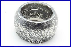Handmade 2019 Australia 1 oz silver double dragon coin ring. Size 8-15