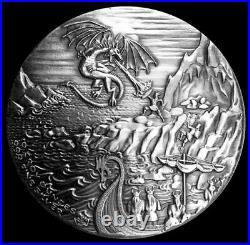 High Relief Silver 10 oz. 999 Fine Monarch Dragon vs. Vikings Fantasy Coin
