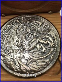 High Relief Silver 10 oz. 999 Fine Monarch Dragon vs. Vikings Fantasy Coin withBOX