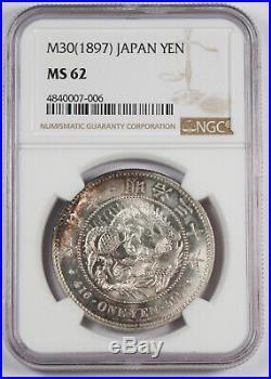 JAPAN 1897 Mutsuhito Meiji (Year 30) Silver Yen Dragon Coin BU NGC MS62 Y#A25.3