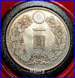 JAPAN 1905(YR38) 1 Yen Silver Dragon Coin Very Nice Details