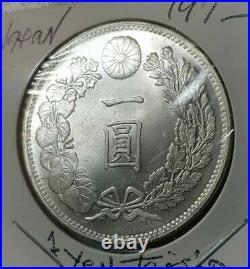 JAPAN Emperor MEIJI TAISHO Silver Coin 1 Yen DRAGON Coin