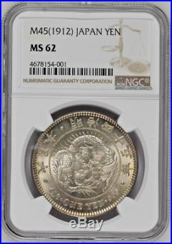 Japan 1912 Large Silver Coin Yen Dragon Graded by NGC as MS62