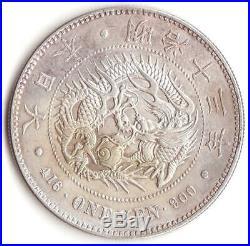 Japan Silver Coin Dragon 1Yen 1880 (Meiji13) Key date rare
