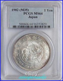 Japan Yen Meiji Year 35 (1902) Dragon One Yen Silver Coin PCGS MS 64