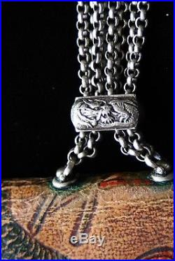 Japanese Antique Kinchaku Dragon Silver/Leather Purse/Coin Purse/Tobacco Purse