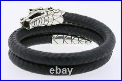 John Hardy Naga Double Coin Bracelet Dragon Leather $650 Sterling Silver