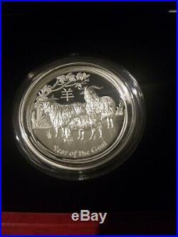 LOT 5 COINS- Silver Lunar High Relief 2012-2016 Dragon, Horse, Monkey, Snake, Goat