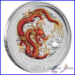 LOT OF 3 2012 1oz AUSTRALIAN SILVER DRAGON COLORED RED/GOLD & NAVY BLUE & BLUE