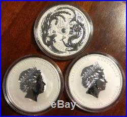 LOT of 3 2017 1 oz. 9999 Silver Australian DRAGON and PHOENIX Coin Limited 50K