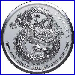 LUCKY DRAGON 25 X 2019 1 oz Pure Silver High Relief Coin in Mint Tube CANADA