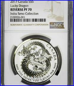 LUCKY DRAGON High Relief 2017 Canada 1 oz. 9999 Silver Coin Rev PF70 NGC RARE