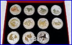 LUNAR SET 11 x 2 Oz Unzen Silber Münzen 20008 2018 Dragon silver coin Box