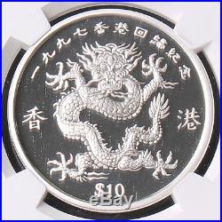 Liberia 1997 Return of Hongkong Dragon 1oz $10 Silver coin NGC PF70