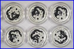 Lot of 10 2012 Australia 1/2 oz Fine Silver Dragon 50c Lunar Series II