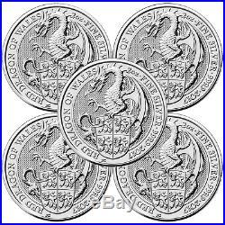 Lot of 10 2017 U. K. 5 Pound Silver Queen's Beast The Dragon. 9999 2 oz BU