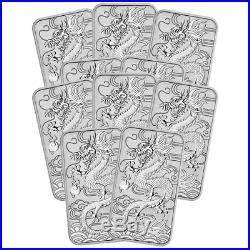 Lot of 10 2018 $1 Silver Australian Dragon Rectangle 1 oz Brilliant Uncirculat