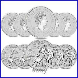 Lot of 10 2021 1 oz Silver Lunar Year of The Ox Dragon Privy BU Perth Mint