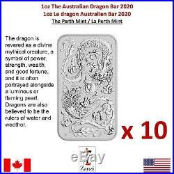 Lot of 10 x 2020 1 oz Silver Australian Dragon Coin Bar