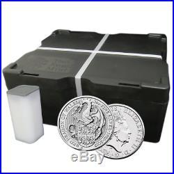 Lot of 100 2017 U. K. 5 Pound Silver Queen's Beast. 9999 2 oz BU The Dragon 10