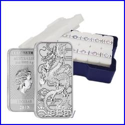 Lot of 100 2018 1 oz Silver Australian Dragon Coin Bar $1 BU 5 Tube, Lot of