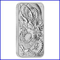 Lot of 100 2021 1 oz Silver Australian Dragon Coin Bar $1 BU 5 Tube, Lot of
