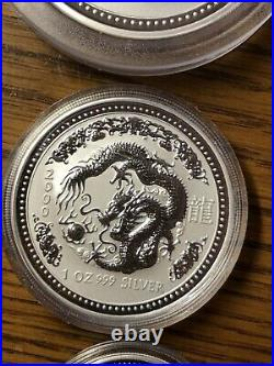 Lot of 3 sizes Australia Lunar 2000 Dragon Silver Coins 2 oz, 1 oz, 1/2 oz