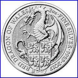 Lot of 5 2017 U. K. 5 Pound Silver Queen's Beast. 9999 2 oz BU The Dragon
