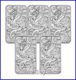 Lot of 5 2018 $1 1oz Silver Australian Bullion Dragon Rectangular Coin (Bar)