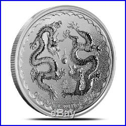 Lot of 5 2018 Niue 1 Oz. 999 Fine Silver Double Dragon $2 Coin Gem BU