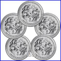 Lot of 5 -2018 Niue 1 oz Silver Double Dragon Pearl of Wisdom $2 Gem BU SKU53654