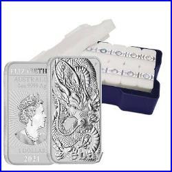 Lot of 5 2021 1 oz Silver Australian Dragon Coin Bar $1 BU