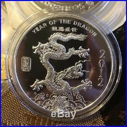 Lunar 2012 5 oz Silver Round Year of the Dragon. 999 Fine Coin Round Honest Luck