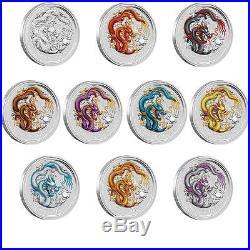 Lunar II 2 Drache dragon farbig color coloriert 10 coin set 1oz silver ten farbe