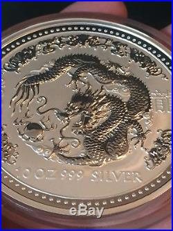 Lunar Series 1 Dragon 10 oz 999 Silver Bullion Coin Perth Mint 2000 Millennium