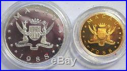 Macao 1988 Year of Dragon 100,1000 Patacas Silver Gold Coins, Proof