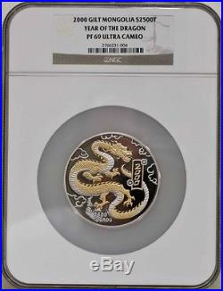Millennium Year 2000 Mongolia 5oz Silver GILT Dragon Coin NGC F69