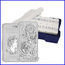 Monster Box of 200 2020 1 oz Silver Australian Dragon Coin Bar $1 BU 10 Tube